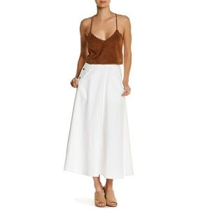 FREE PEOPLE In The Groove denim a-line maxi skirt